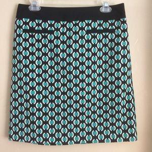 Worthington Graphic Green and Black Skirt, Size 8